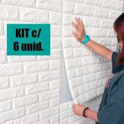 Papel de Parede 3D Kit 6 Placas Painel 70 x 76 cm Adesivo Casa Sala Quarto