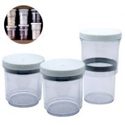 Pote Acrilico Conserva Retratil Ajustavel Vacuo Regulavel 2 em 1 Condimento Kit com 3