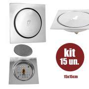 Ralo Inteligente Pop Up Click 15x15 Aço Inox 15 Un. Banheiro