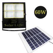 Refletor Solar 60W LED Holofote Placa Solar Controle Remoto Resiste Agua Luz Branca
