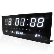 2c5df957d52 Relogio Parede Led Digital Branco Alarme Termometro Calendario (rel-57)