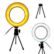 Ring Light Iluminador LED Tripe Usb Luz Youtube Video Foto Quente/Fria Mesa Portatil Controle