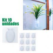 Vaso de Plantas Silicone Enfeite Adesivo Vidro Parede Flor Agua Kit 10