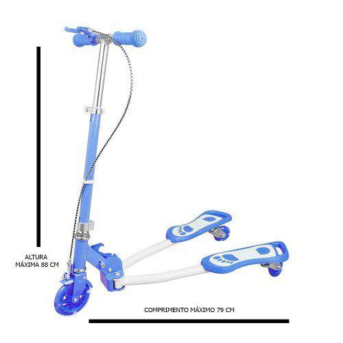 Patinete Dobravel Tres Rodas 100kg Regulavel Azul Modelo V