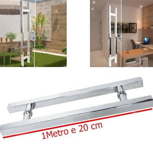 Puxador Inox Porta Aco 1 Metro E 20 Cm Quadrado Casa Portal