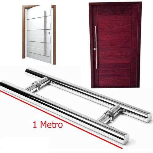 Puxador Porta Aco Inox 1 Metro Vidro Casa Porta Decoração