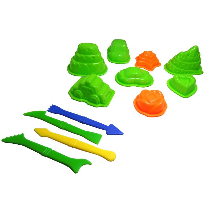 Areia Divertida 600g Massinha de Modelar Carrinhos Com 12 Peças Coloridas (DMT5128)