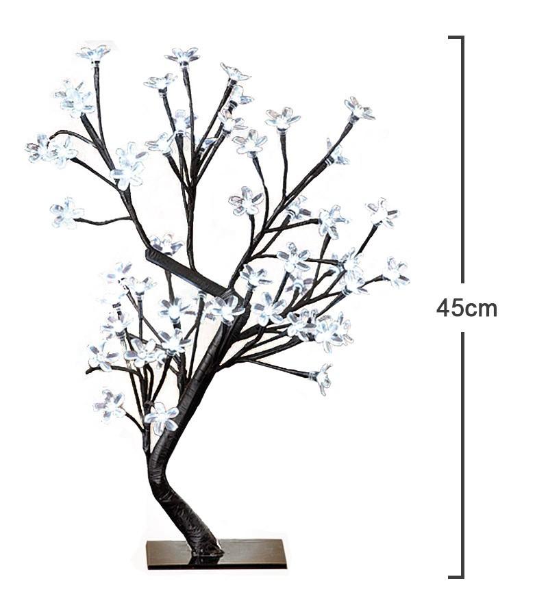 Arvore Abajur Luminaria de Natal 80 LEDs Cerejeira Pisca 8 Funções 45cm Branco