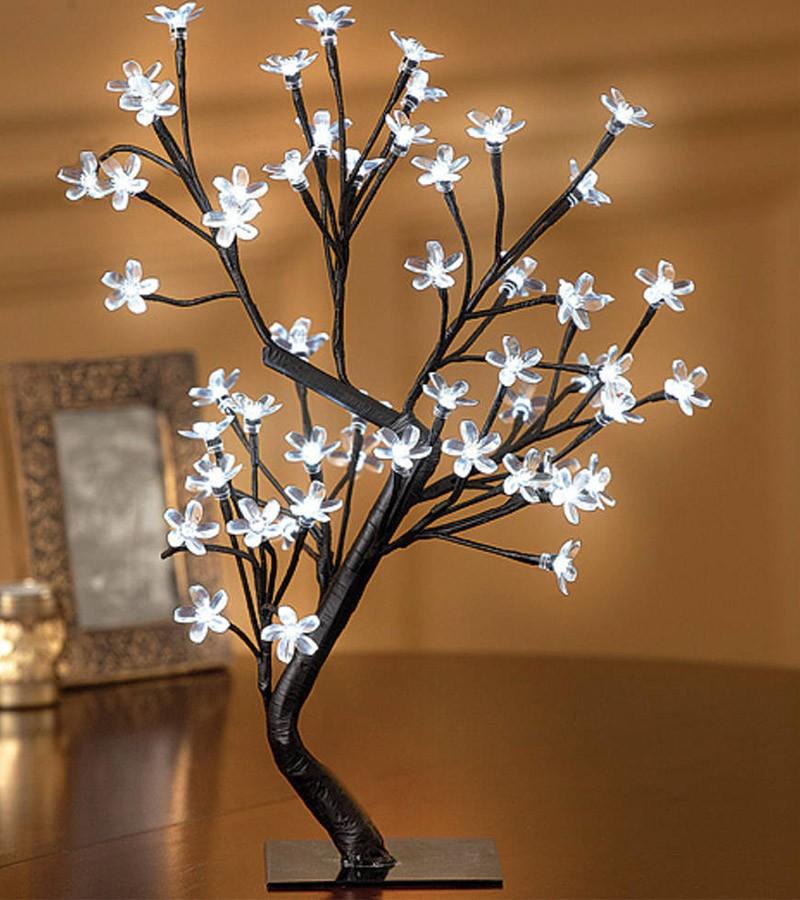 Arvore Abajur Luminaria de Natal 80 LEDs Cerejeira Pisca 8 Funções 60cm Branco (NTD6080B127V)