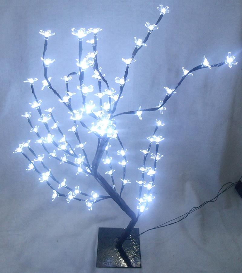 Arvore Abajur Luminaria de Natal 96 LEDs Cerejeira Pisca 8 Funções 80cm Branco