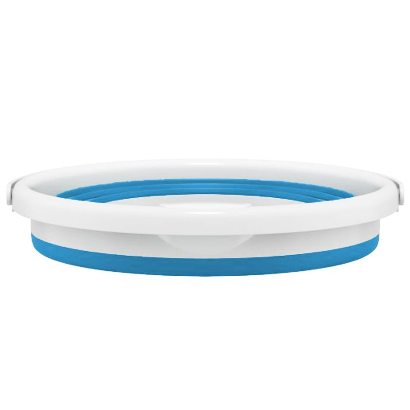 Balde Dobravel Silicone Retratil Agua 10 Litros Portatil Azul Limpeza