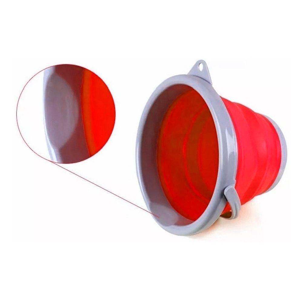 Balde Dobravel Silicone Retratil Agua 5 Litros Portatil Limpeza Vermelho