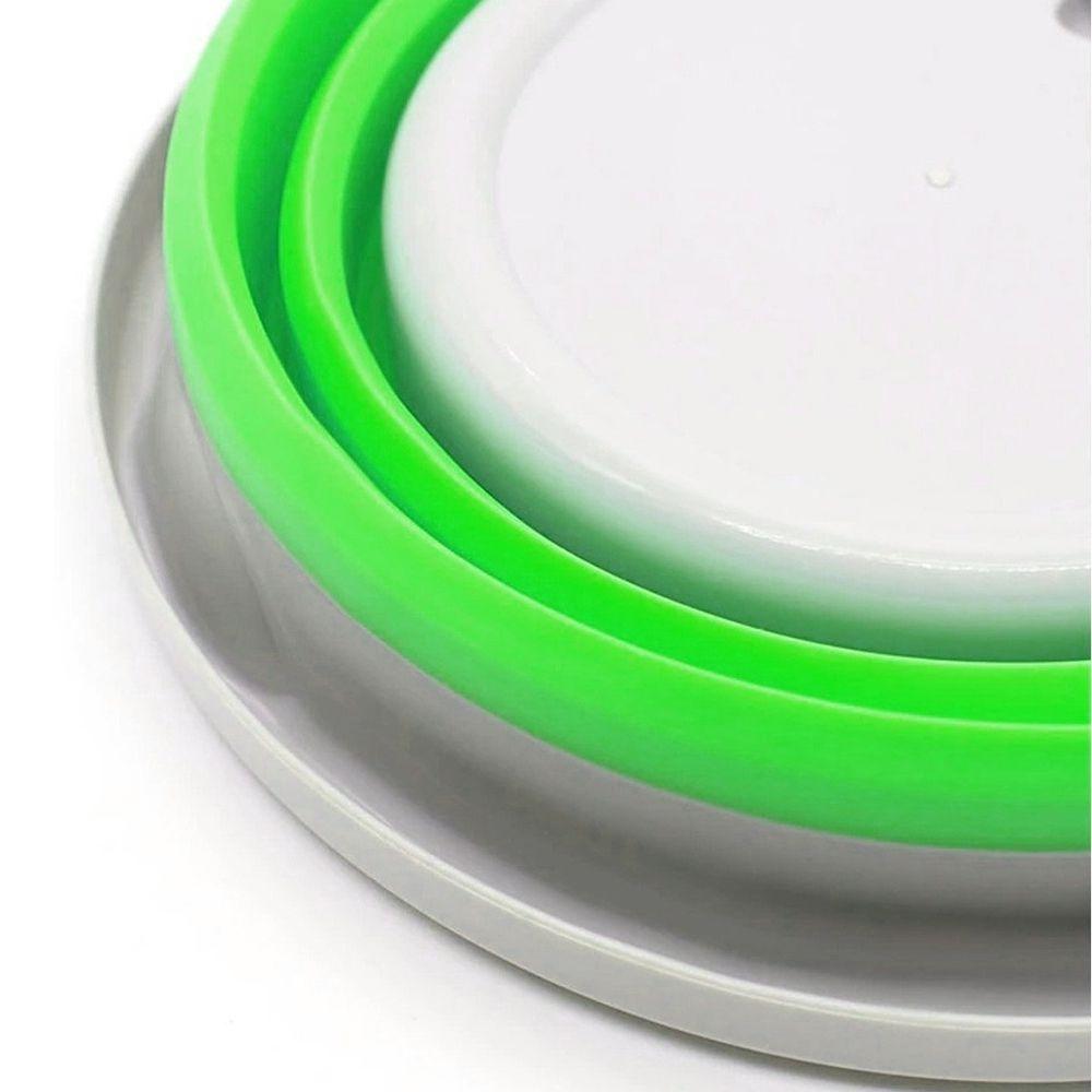 Balde Dobravel Silicone Retratil Agua 5 Litros Portatil Multiuso Verde