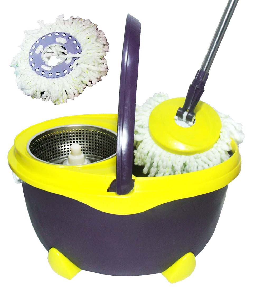 Balde Esfregao De Limpeza Mop Inox Grande 16L Resistente Com 1 Refil Pratico Amarelo (bsl-mop-6)