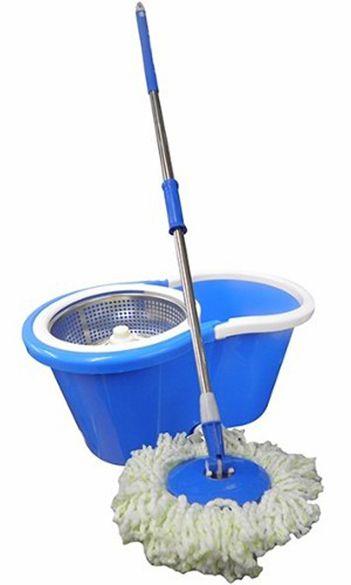 Balde Inox Centrifuga Esfregao Mop De Limpeza 360 Para Casa Com Rodinhas Azul (BSL-MOP-3)