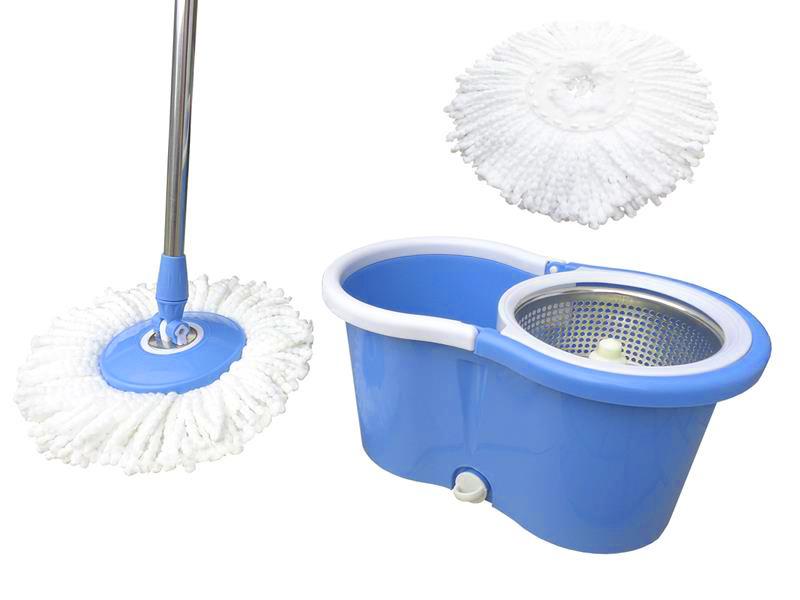 Balde Inox Centrifuga Esfregao Mop De Limpeza Para Casa Com Rodinha Azul (BSL-MOP-3)