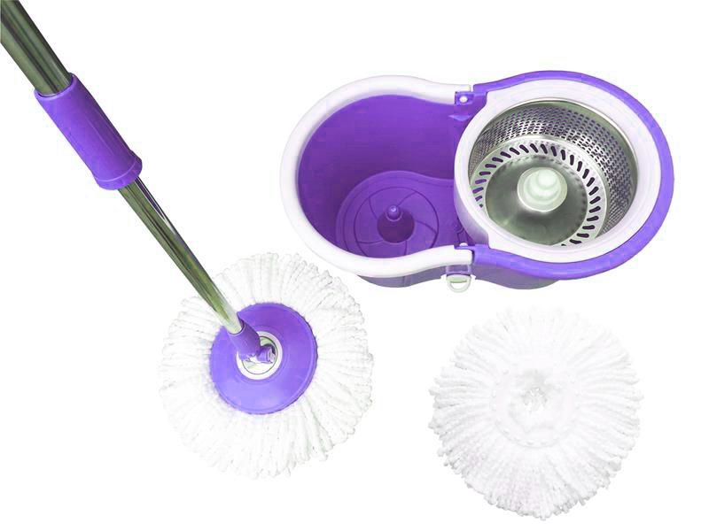 Balde Inox Esfregao Mop De Limpeza Centrifuga Para Casa Rodas Roxo Com Rodinha (BSL-MOP-3)