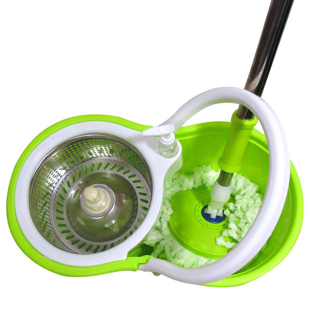 Balde Mop Esfregao Inox 360 Spin Centrifuga Limpeza + 1 Refil Com Rodinha (bsl-mop-5/Verde/clb-03001)