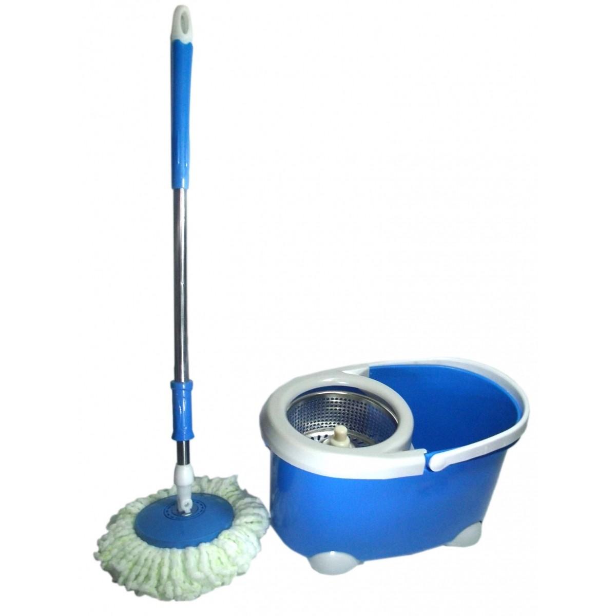 Balde Mop Esfregao Inox De Limpeza Spin Casa Centrifuga + 1 Refil Extra Microfibra Cor Azul NA* (bsl-mop-4)