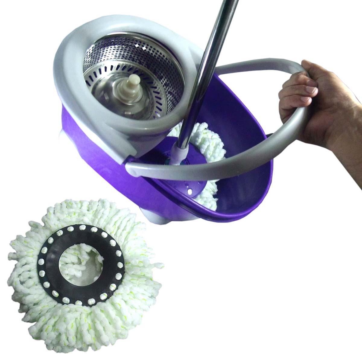 Balde Mop Esfregao Inox De Limpeza Spin Casa Centrifuga + 1 Refil Extra Microfibra Roxo (bsl-mop-4)
