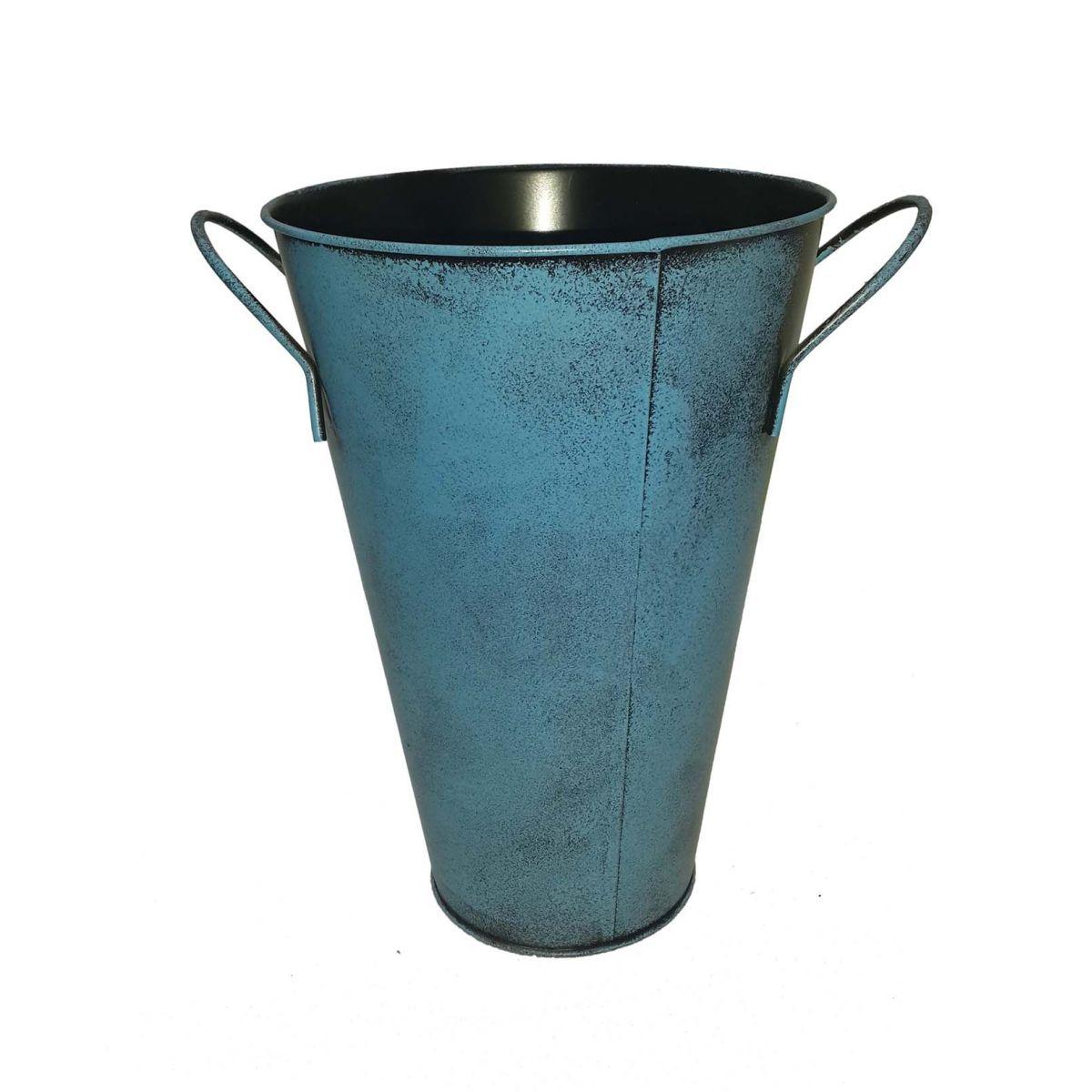 Balde Vaso Enfeite de Ferro Com Alça Jardim Quintal Varanda Flor Joaninha Azul (BALDE-26)