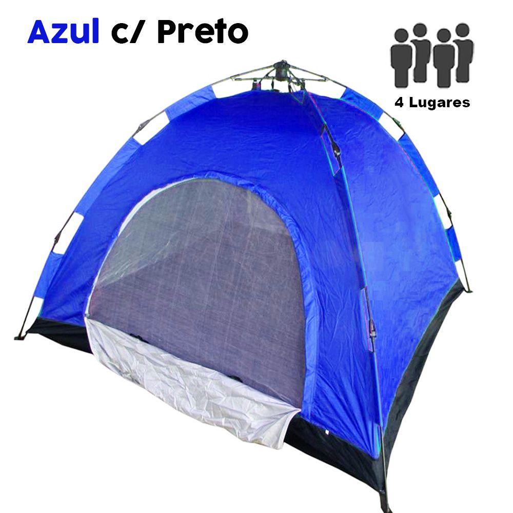 Barraca Monta Sozinha Automatica 4 Lugares Acampar Camping Azul com Preto