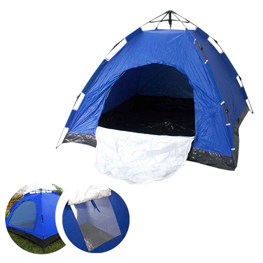 Barraca Monta Sozinha Automatica 4 Lugares Acampar Camping Azul com Verde