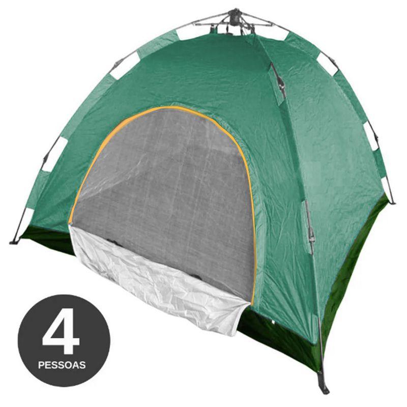 Barraca Monta Sozinha Automatica 4 Lugares Acampar Camping Verde