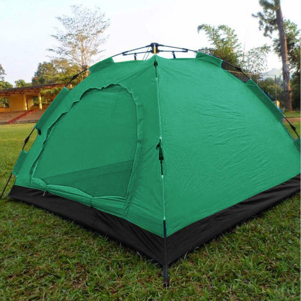 Barraca Monta Sozinha Automatica 4 Lugares Acampar Camping Verde e Preto