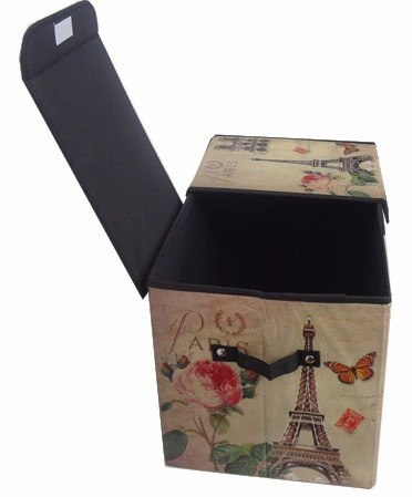 Bau Porta Treco Dobravel Para Guardar Volumes Vintage Retro Torre Eiffel (pf-16)