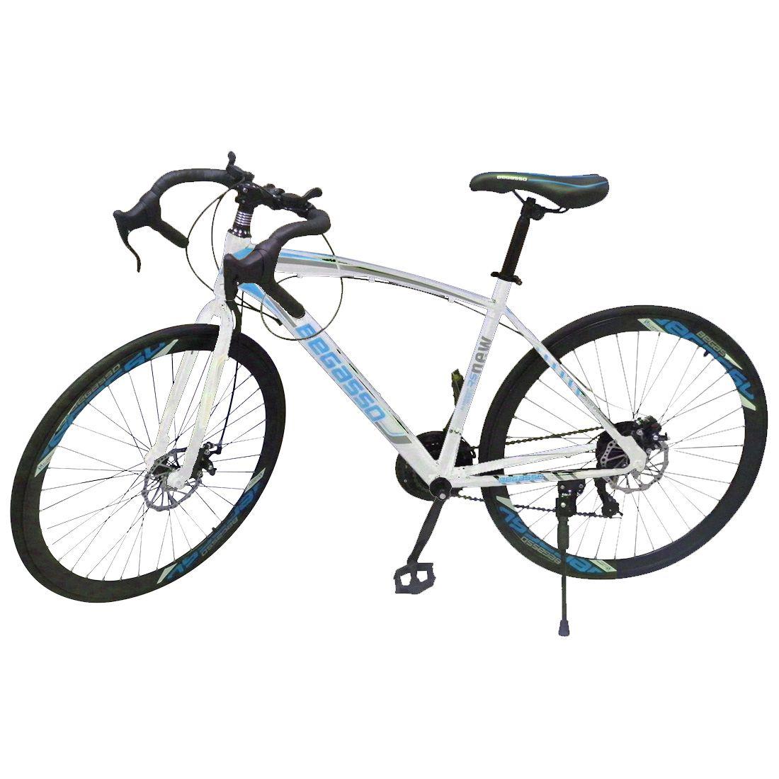 Bicicleta Speed Corrida 21 Marchas Shimano Aro 26 Freio Disco Bike Pneu Fino Branca