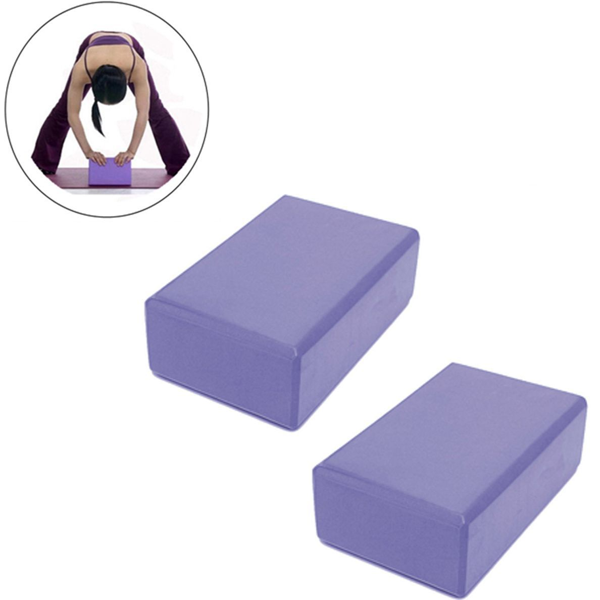 Blocos Pilates Yoga Eva Fitness Ginastica Treinamento Kit 2 Exercicio Roxo