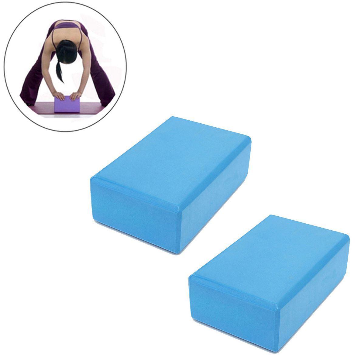 Blocos Pilates Yoga Ginastica Treinamento Eva Fitness Kit 2 Exercicio Azul