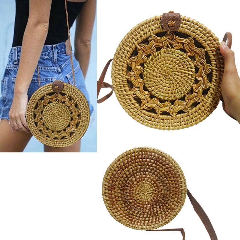 Bolsa de Ombro Rattan Bali Tendencia Verao Redonda Palha Moda