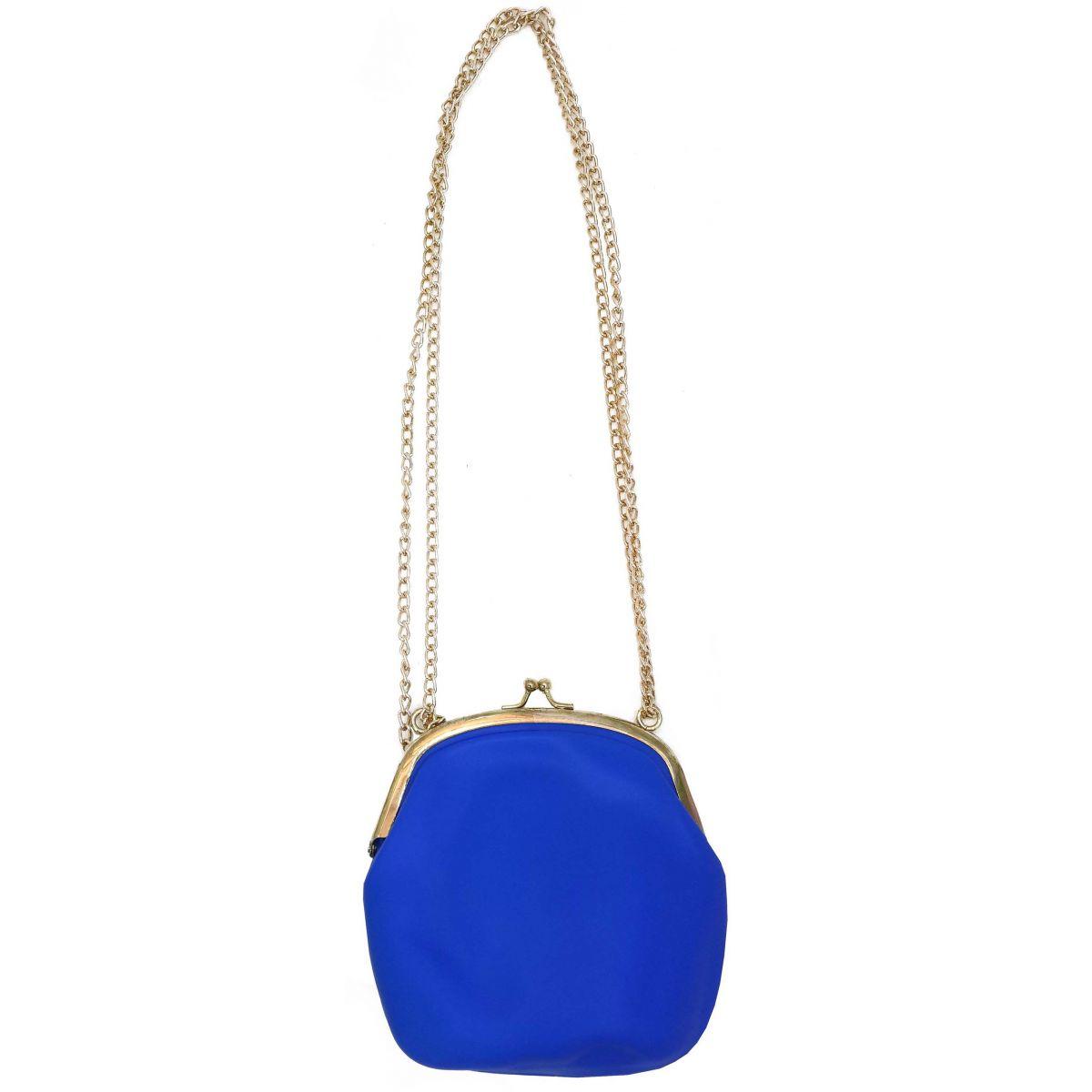 Bolsa Silicone Tiracolo Vintage Azul Com Correntes Douradas (BL-2662-6)