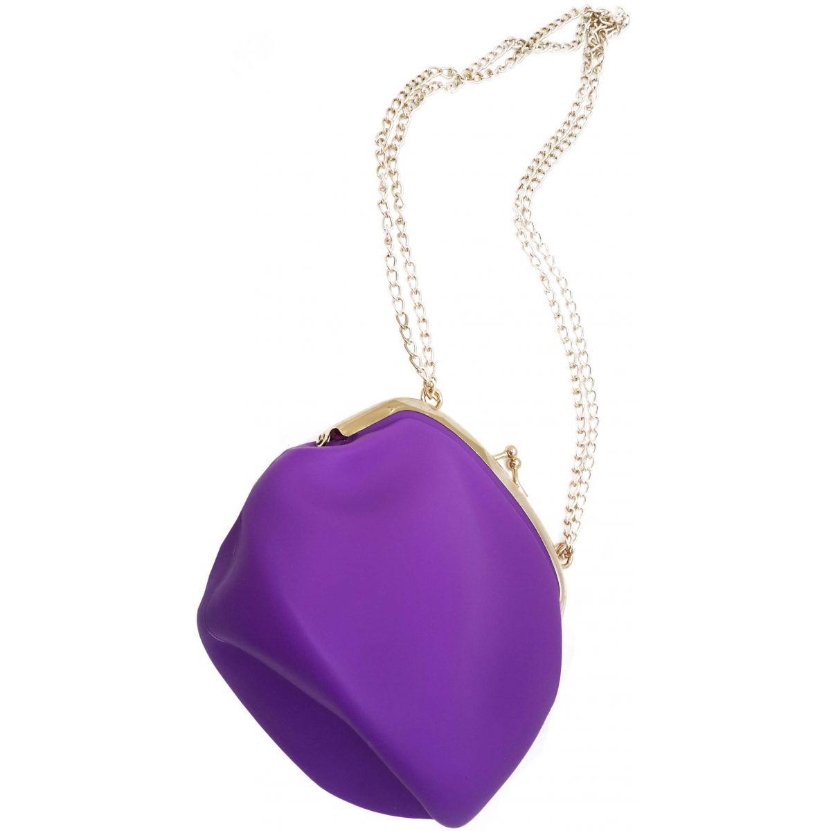 Bolsa Dourada Com Corrente : Bolsa silicone tiracolo vintage roxa com corrente dourada