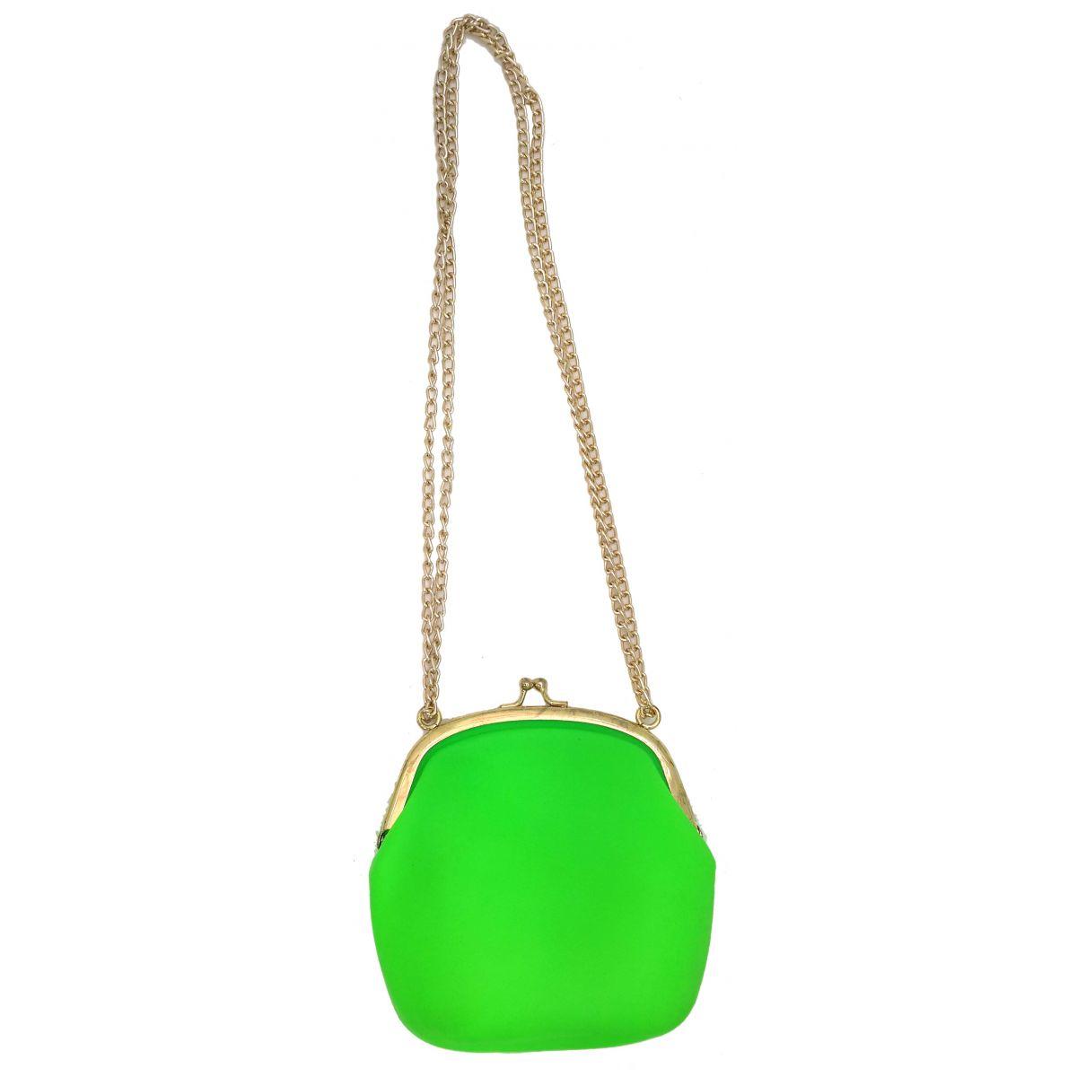 Bolsa Dourada Com Corrente : Bolsa silicone tiracolo vintage verde com corrente dourada