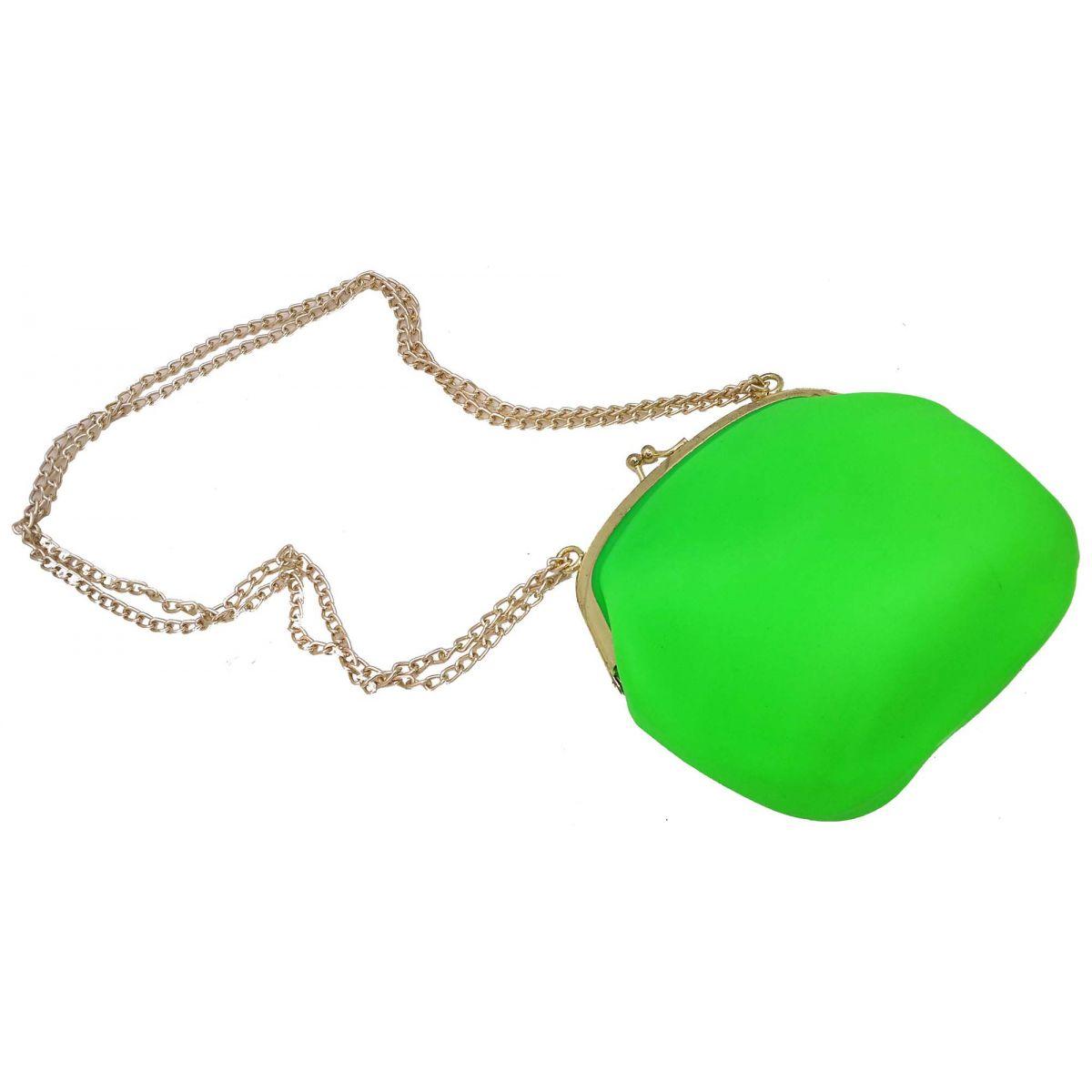 Bolsa Silicone Tiracolo Vintage Verde Com Corrente Dourada (BL-2662-6)