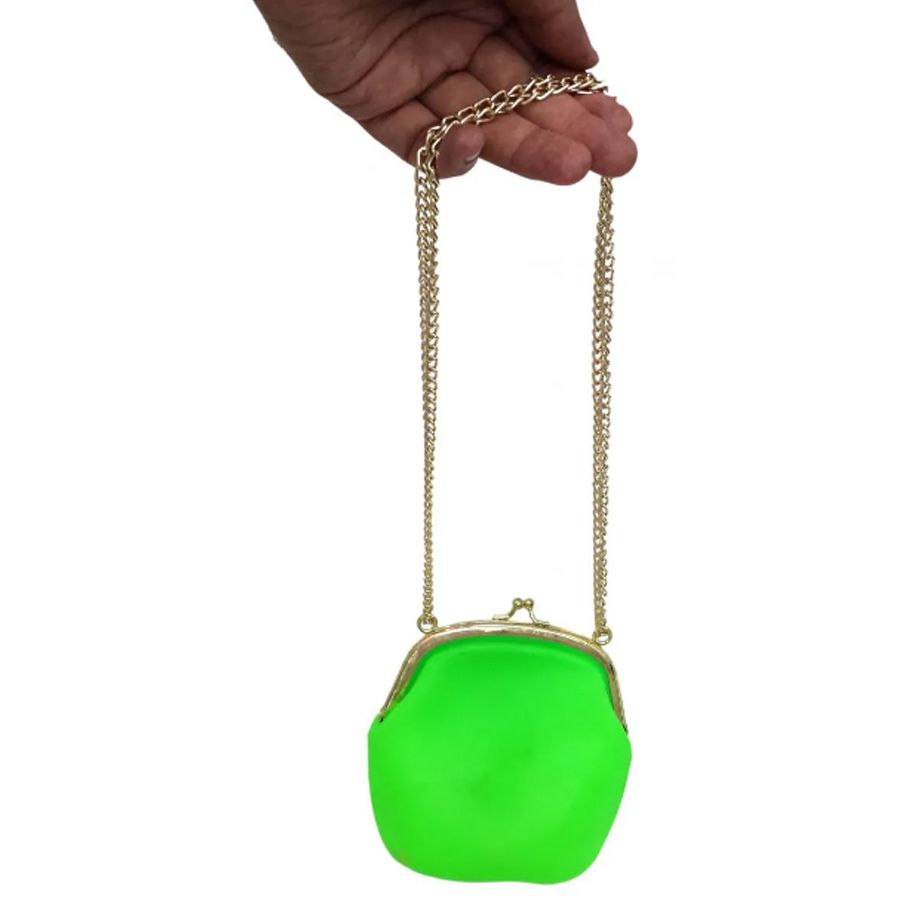 Bolsa Silicone Tiracolo Vintage Verde kit 6 uni Com Corrente Dourada