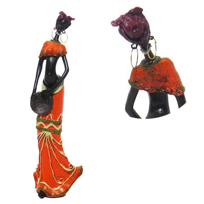 Boneca Africana Enfeite Para Mesa Sala Vestido Laranja Decoracao (6819/laranja/D)
