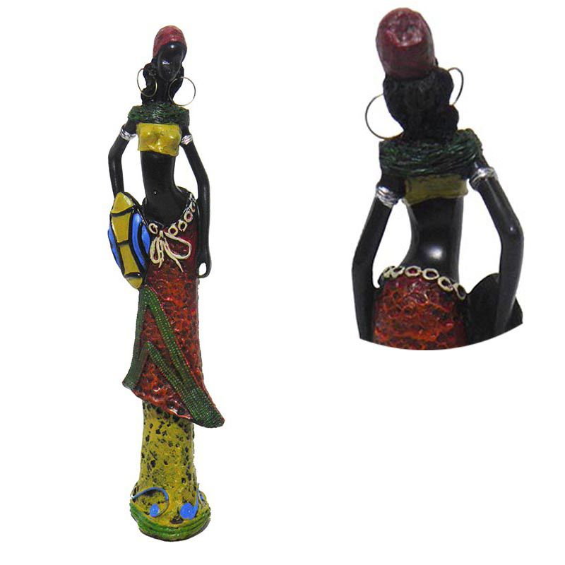 Boneca Africana Enfeite Para Mesa Sala Vestido Marrom Decoracao (6819/Vermelho/A)