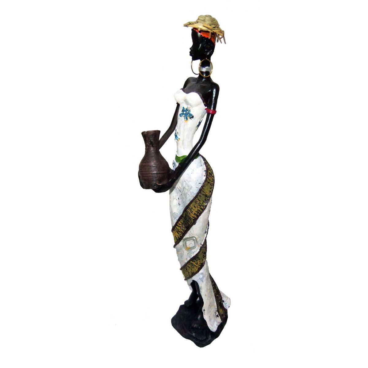 Boneca Africana Estatueta Mesa Roupa Branca (8047)