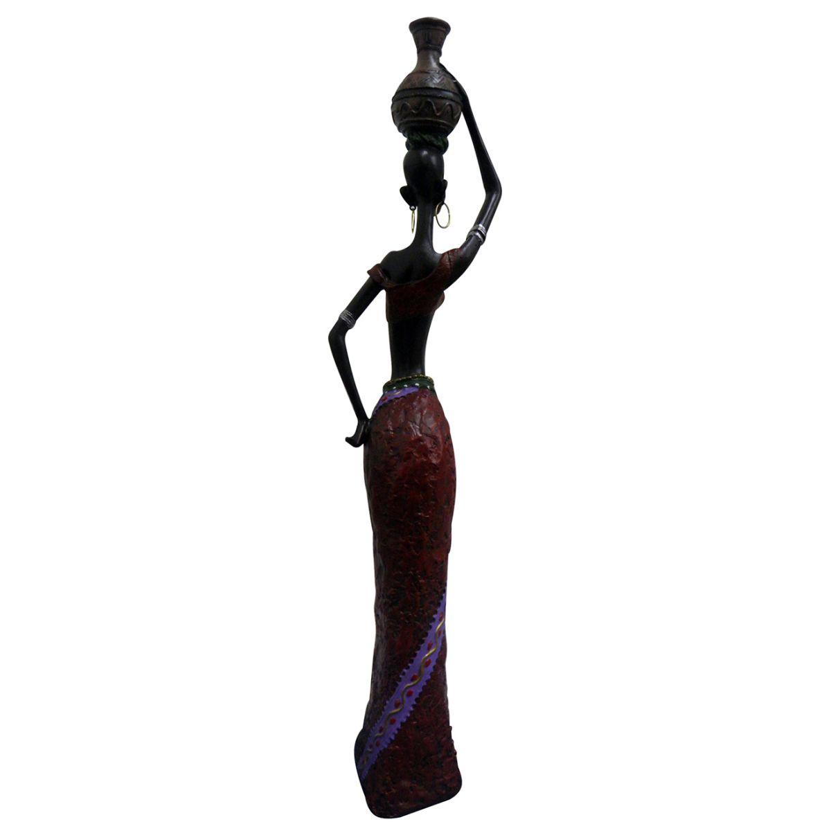Boneca Africana Para Mesa Sala Enfeite e Decoraçao Vermelho (8004/C)
