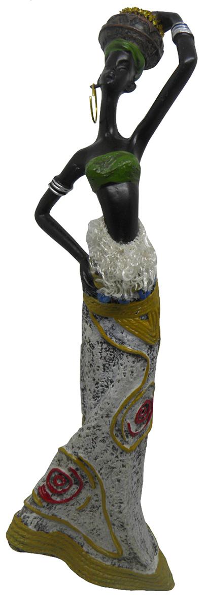 Boneca Africana Para Mesa Sala Enfeite e Decoraçao Vestido Branco (6819)