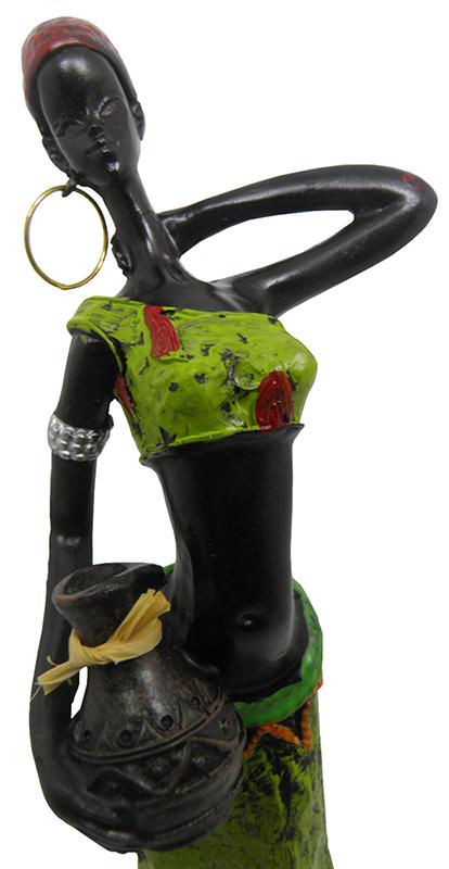 Boneca Africana Para Mesa Sala Enfeite e Decoraçao Vestido Verde (6819)