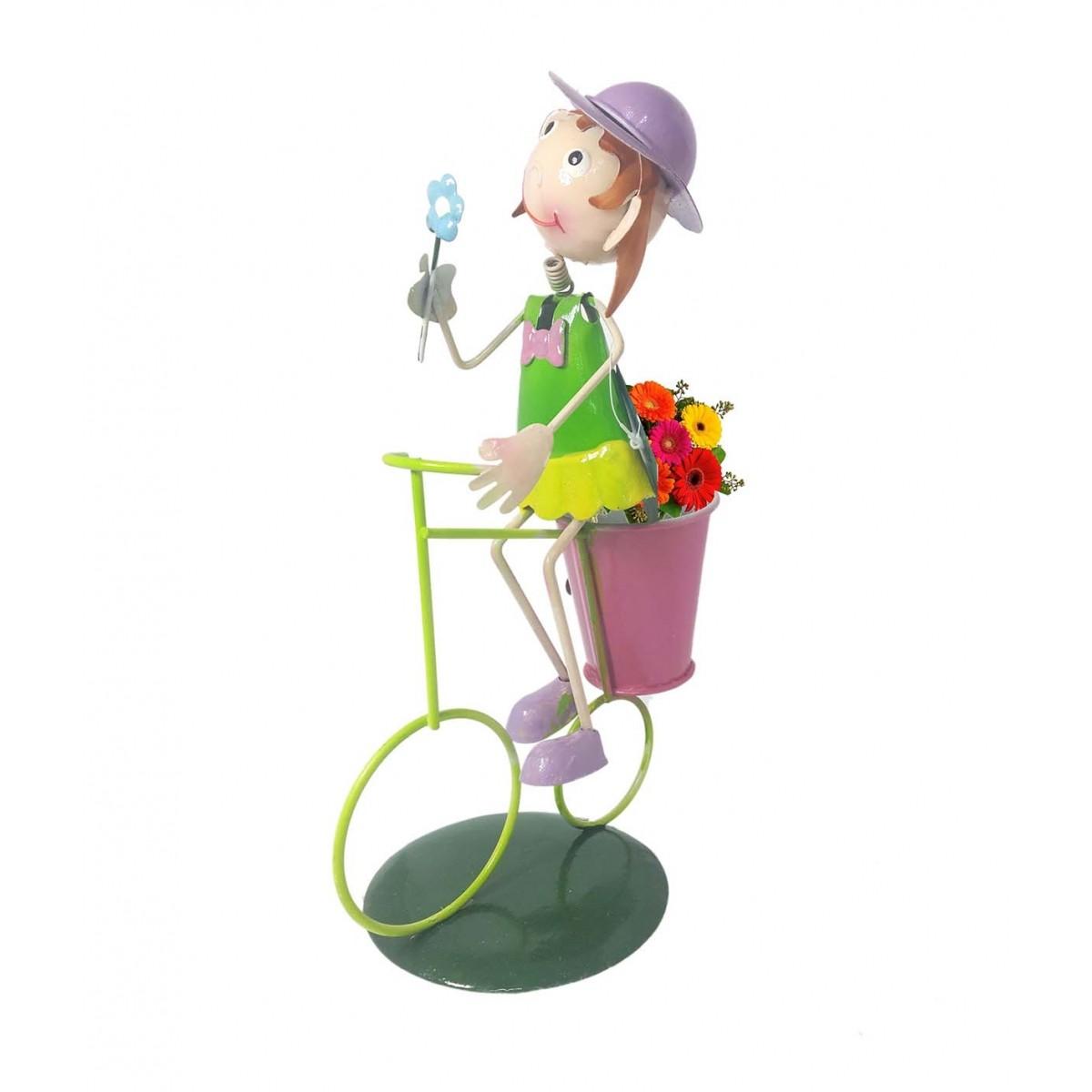 Boneca com Bicicleta Enfeite e Decoraçao Jardim Casa Flores Vaso Porta Treco (bon-m-13)