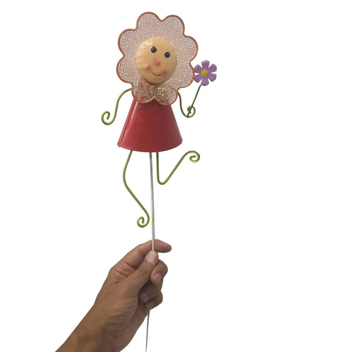 Boneca De Ferro Flor Com Haste Enfeite Decora Jardim Cor Vermelha (JARD-77)