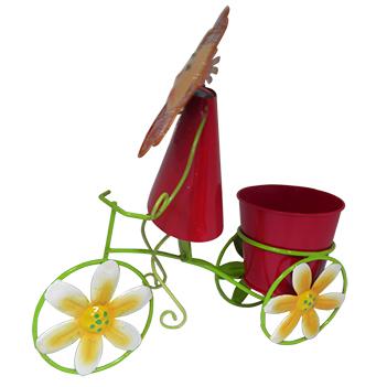 Boneca de Flor com Bicicleta Para Enfeite e Decoraçao Jardim e Flores Vaso Vermelho (BON-P-11)