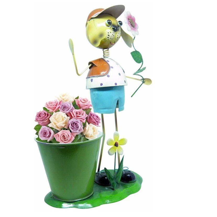 Casal Boneco De Ferro Enfeite Jardim Decoraçao Flores