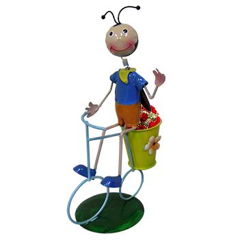 Boneco Joaninha com Bicicleta Para Enfeite e Decoraçao Jardim e Flores (BON-M-15)